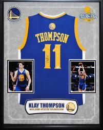 Klay Thompson - Golden State Warriors NBA Signed Basketball Jersey in Shadow Box
