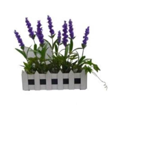 Northlight 32606246 8.25 in. Artificial Flowering Lavender Plant in White Picket Fence Container