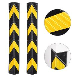 "31"" Rubber Corner Guard Wall Corner Protector Bumper with Reflective Yellow Strips for Garage Parking Lot Warehouse 2pcs"
