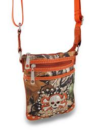 Forest Camouflage Cross Body Bag w/Mock Croc Vinyl Trim and Rhinestone Skull