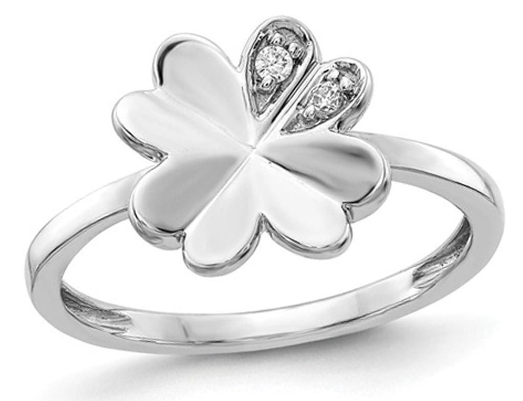 14K White Gold Fancy Clover Promise Ring