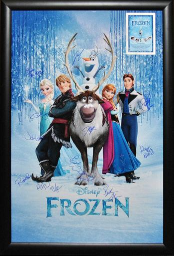 Frozen - Signed Movie Poster in Wood Frame with COA