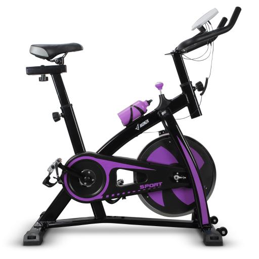 AKONZA Magnetic Belt Drive Indoor Cycling Bike with High Weight Capacity and Bottle Holder, Purple