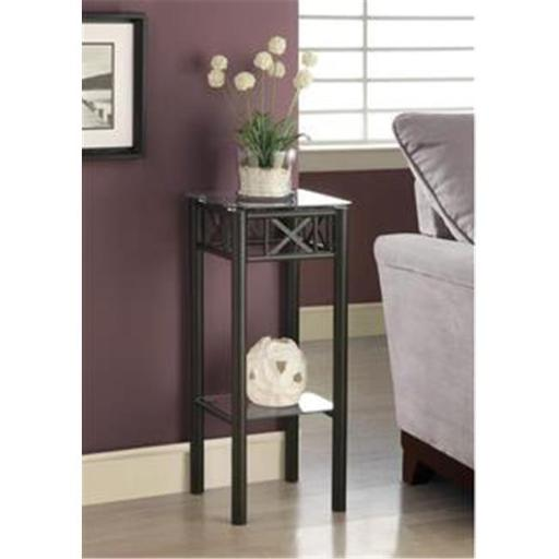 Monarch Specialties I 3078 Black Metal Plant Stand With A Tempered Glass Top