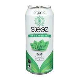 Steaz Lightly Sweetened Green Tea - Mint - Case of 12 - 16 Fl oz.