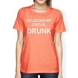 Relationship Status Peach Round Neck Cute Graphic Shirt For Her