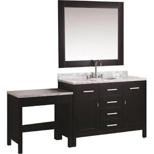 Design Element DEC076C MUT 48 in. London Single Sink Vanity Set with Make Up Table, Espresso