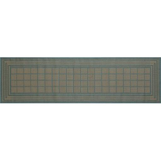 Art Carpet 29373 3 x 9 ft. Plymouth Collection Basket Flat Woven Indoor & Outdoor Area Rug Runner, Blue