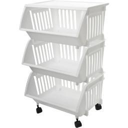 Home products 0737wh-ep.04 three tier mobile cart white c