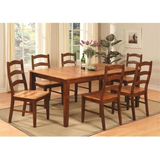 East West Furniture HENL7-BRN-W 7 Piece Dining Table Set For 6-Table With Leaf and 6 Dining Chairs