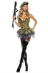 Be Wicked Commando Costume, Green/Black/Gold, Large/X-Large
