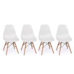 Belleze Set of (4) White - Dowel Mid Century Style Side Chair Natural Wood Legs Eiffel Chair