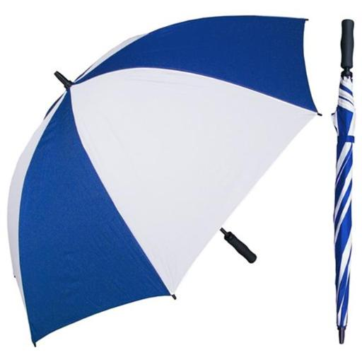 RainStoppers W005ROW 60 in. Royal & White Single Canopy Golf Umbrella with Foam Handle, 6 Piece
