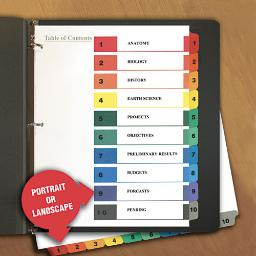 Deluxe Table Of Contents Dividers For Printers 10-Tab 1 To 10; Table Of Contents 11 X 8.5 White 6 Sets   1 Pack of: 6