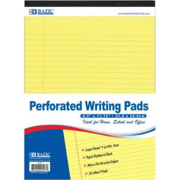 """Bazic 50 Ct. 8.5"""" X 11.75"""" Canary Perforated Writing Pad"""