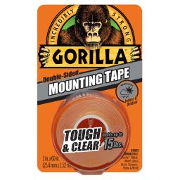Gorilla Double Sided 1 in. W x 60 in. L Mounting Tape Clear - Case Of: 6;