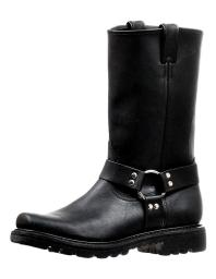 Boulet Motorcycle Boots Mens Broad Square Toe Ring Grasso Black 6333 6333