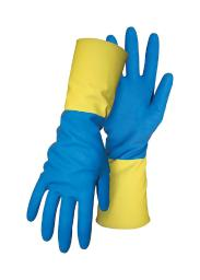 Boss Men's Indoor/Outdoor Gauntlet Cuff Chemical Gloves Blue/Yellow L 1 pair - Case Of: 1;
