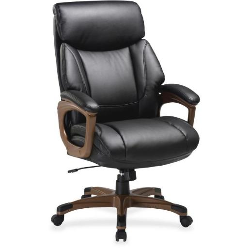 Lorell LLR59495 Executive Chair, Bonded Leather - Black & Walnut