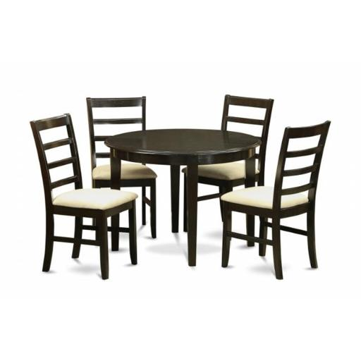 East West Furniture BOPF5-CAP-C 5 Piece Small Kitchen Table Set-Round Kitchen Table and 4 Dining Chairs