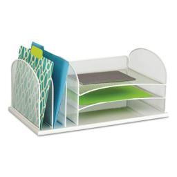 Safco Products 3254WH Steel Mesh Desk Organizer, Six Sections