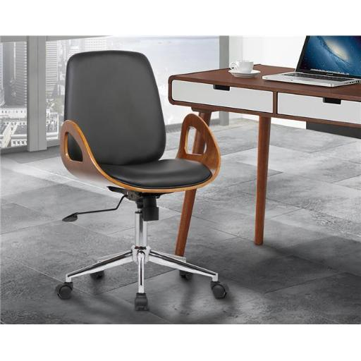 Wallace Mid-Century Office Chair in Chrome with Black Faux Leather Walnut Veneer Back