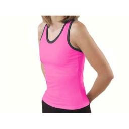 Pizzazz Performance Wear 9800T -HPKBLK-2XL 9800T Adult Racer Back Top with Trim - Hot Pink with Black - 2XL