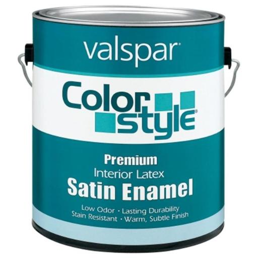 Valspar Brand 1 Gallon White ColorStyle Interior Latex Satin Enamel Wall Paint - Pack of 4