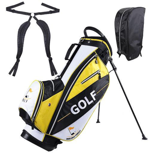 Men's Golf Club Bag 15x11x35' 600D Golf Carry Bag w/ 7 Pockets For Male Adult Golf Accessory Yellow
