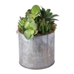 Vickerman F12203 Tin Container Everyday Floral with Succulents