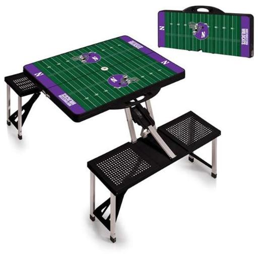 Picnic Time 811-00-175-435-0 Northwestern University Wildcats Digital Print Portable Folding Picnic Table with Four Seats, Black