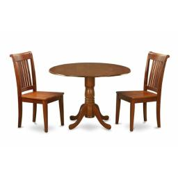 East West Furniture DLPO3-SBR-W 3PC Kitchen Round Table with 2 Drop Leaves and 2 Chairs with Wood Seat
