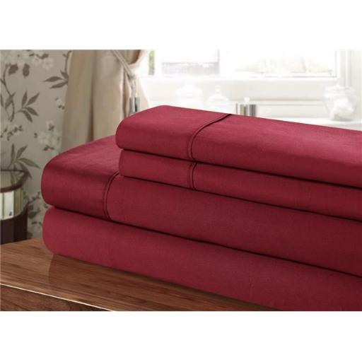 Chic Home CST109-US 100 Percent Cotton Sheet Set, Burgundy - Twin