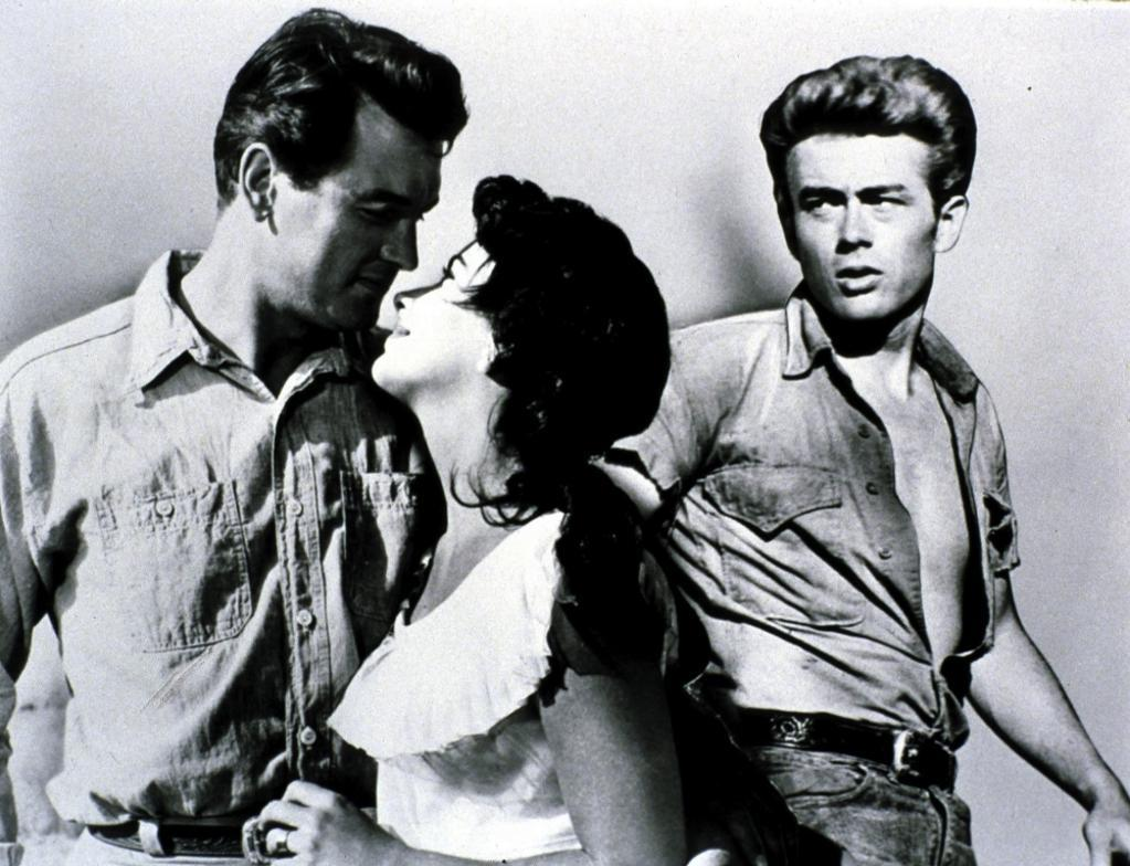 A publicity still of Elizabeth Taylor, James Dean and Rock Hudson for Giant Photo Print