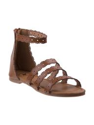 Beverly Hills Girls Brown Scalloped Laser Cut-Out Back Zip Sandals 11-4 Kids