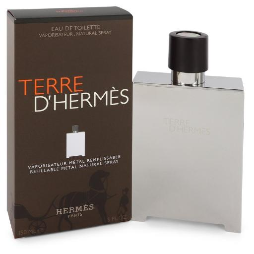 Terre D'Hermes by Hermes Eau De Toilette Spray Refillable (Metal) 5 oz Hermes Terre D'Hermes harkens to the scent of a natural man living in splendor. This elegant fragrance debuted on the market in 2006 and quickly defined itself as a leading industry standard. We are pleased to sell Hermes Terre d'Hermes products, including Terre d'Hermes cologne.