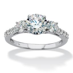 Round Cubic Zirconia 3-Stone Wedding Ring 2.20 TCW in Solid 10k White Gold