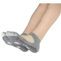 DG Sports Womens Mary Jane Yoga Sock with Grips, Gray- Small & Medium