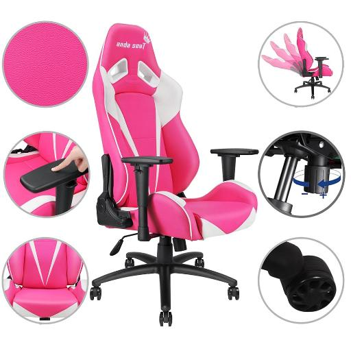 Anda Seat Racing Chair Gaming PVC Leather Adjustable Recliner Swivel High-back w/ Headrest & Lumbar Cushion Office