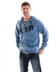 B. Tuff Western Sweatshirt Mens Hoodie Zip Burnout Blue H00375