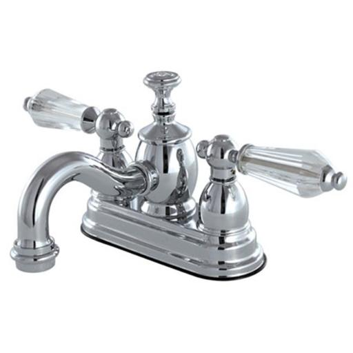 Kingston Brass KS7101WLL 4 in. Centerset Lavatory Faucet with Brass Pop-Up, Polished Chrome