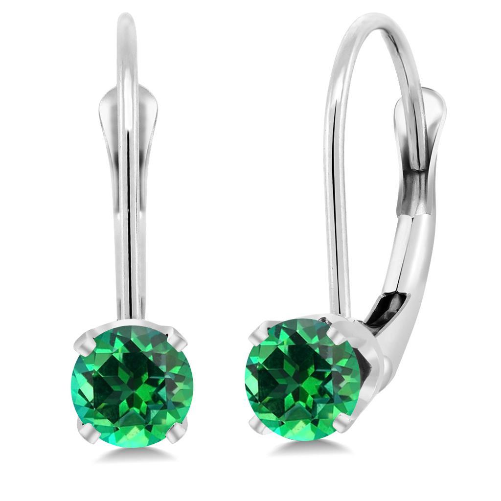14K White Gold Earrings Set with Round Rainforest Topaz from Swarovski