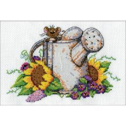 """Watering Can Mouse Mini Counted Cross Stitch Kit-5""""X7"""" 14 Count DW2952"""