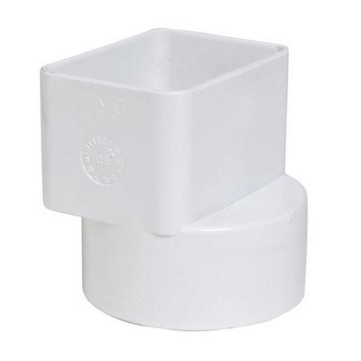 Plastic Trends P1923 2 x 3 x 3 in. Flush Downspout Adapter