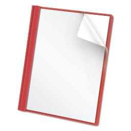 """Clear Front Report Cover 3 Fasteners Letter 1/2"""" Capacity Red 25 Per Box   1 Box of: 25"""