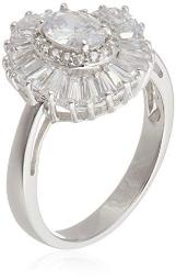 Rhodium Plated Sterling Silver White Oval White Cubic Zirconia 7x5mm Double Halo Ring, Size 7