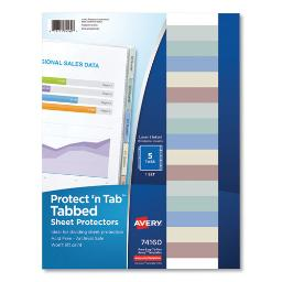 Protect 'N Tab Top-Load Clear Sheet Protectors W/Five Tabs Letter   Total Quantity: 1