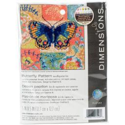 "Butterfly Pattern Mini Needlepoint Kit-5""X5"" Stitched In Thread 71-07243"
