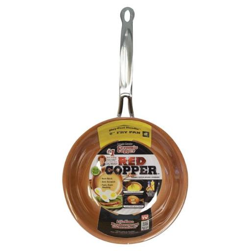 Red Copper 6488829 8 in. As Seen On TV Ceramic Copper Fry Pan Red