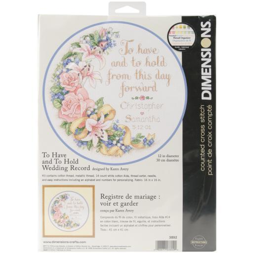 """To Have & To Hold Wedding Record Counted Cross Stitch Kit-12"""" Round 14 Count BSNMMB75PXGHHEX7"""